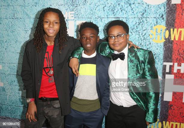Actor Michael Epps Alex Hibbert and Shamon Brown attend the premiere of Showtime's The Chi at Downtown Independent on January 3 2018 in Los Angeles...