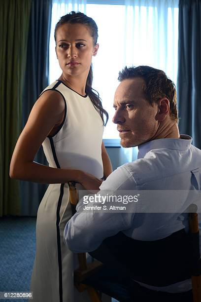 Actor Michael Fassbender and actress Alicia Vikander are photographed for Los Angeles Times on July 25 2016 in New York City PUBLISHED IMAGE
