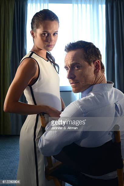 Actor Michael Fassbender and actress Alicia Vikander are photographed for Los Angeles Times on July 25 2016 in New York City