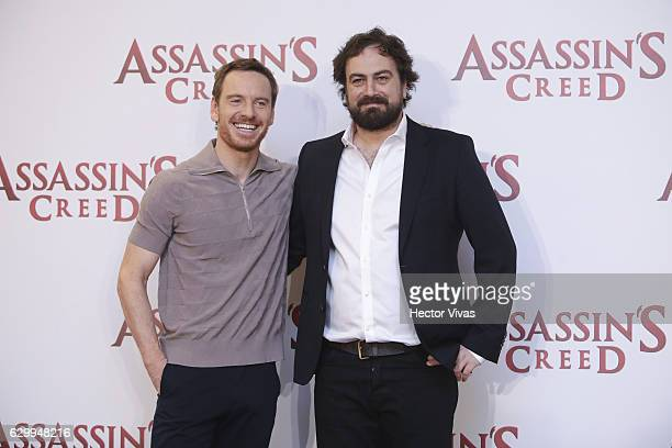 Actor Michael Fassbender and film director Justin Kurzel pose during the photocall and press conference of Assassin´s Creed film at Four Seasons...