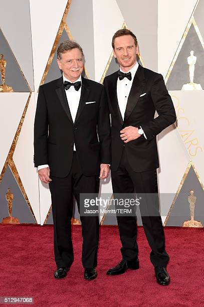 Actor Michael Fassbender and guest attends the 88th Annual Academy Awards at Hollywood Highland Center on February 28 2016 in Hollywood California