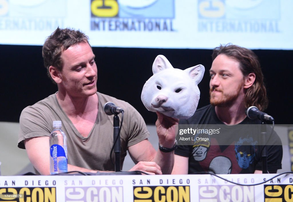 Actor Michael Fassbender (L) and James McAvoy speak at the 20th Century Fox panel during Comic-Con International 2013 at San Diego Convention Center on July 20, 2013 in San Diego, California.