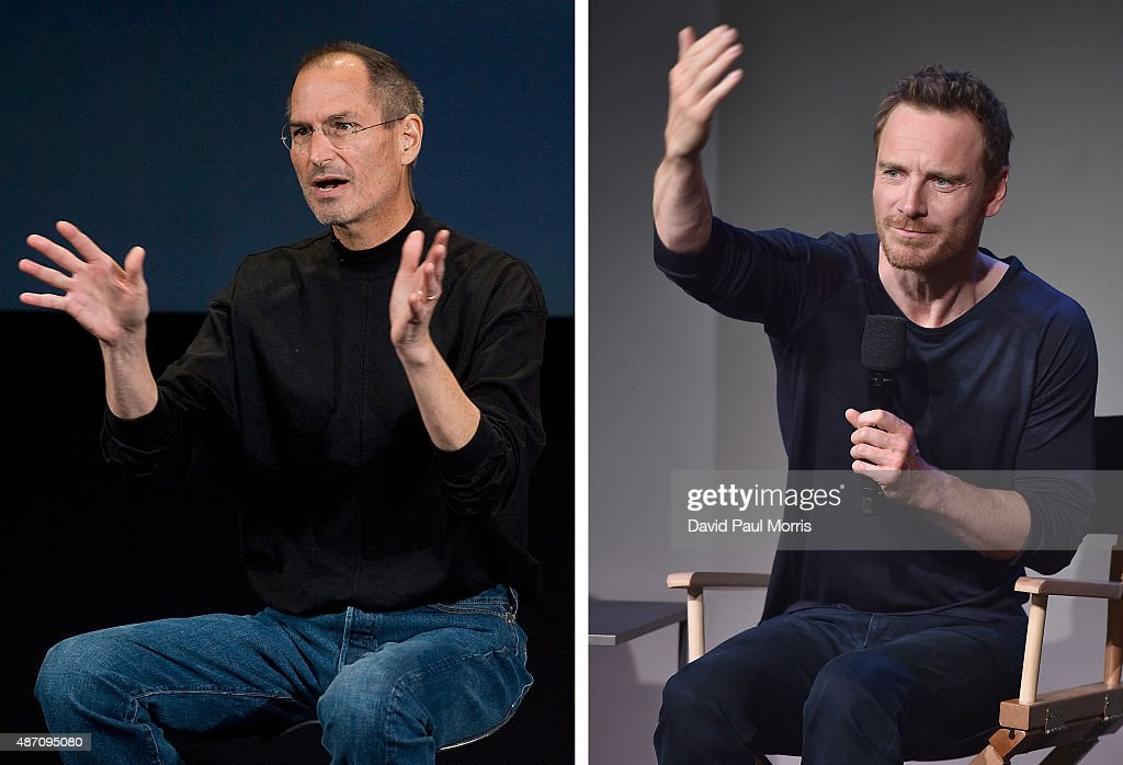 In this composite image a comparison has been made between Steve Jobs (L) and actor Michael Fassbender. Actor Michael Fassbender will play Steve Jobs in a film biopic 'Steve Jobs' directed by Danny Boyle. NEW YORK, NY - AUGUST 07: Actor Michael Fassbender attends 'Meet The Actor' at Apple Store Soho on August 7, 2014 in New York City.