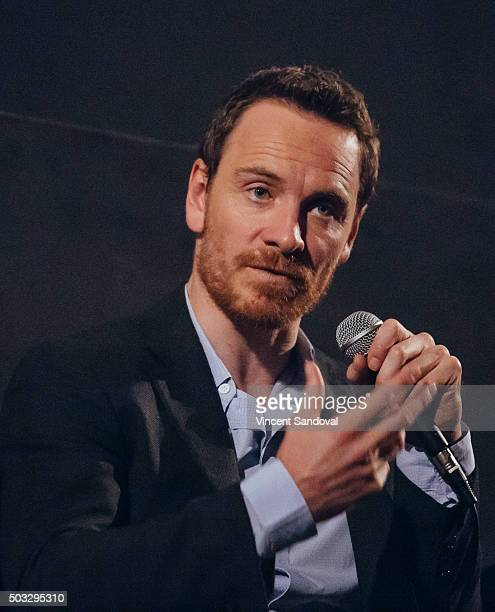 Actor Michael Fassbender attends SAGAFTRA Foundation conversations with Michael Fassbender and Kate Winslet for 'Steve Jobs' at the Egyptian Theatre...