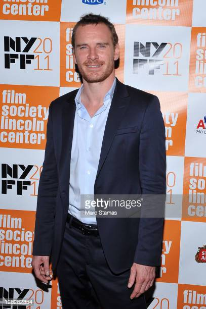 Actor Michael Fassbender attends the 49th annual New York Film Festival presentation of A Dangerous Method at Alice Tully Hall Lincoln Center on...