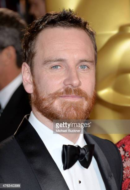 Actor Michael Fassbender attends the Oscars held at Hollywood Highland Center on March 2 2014 in Hollywood California