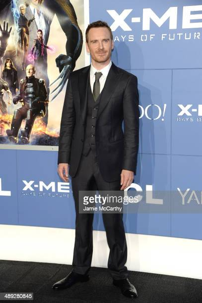 Actor Michael Fassbender attends the XMen Days Of Future Past world premiere at Jacob Javits Center on May 10 2014 in New York City