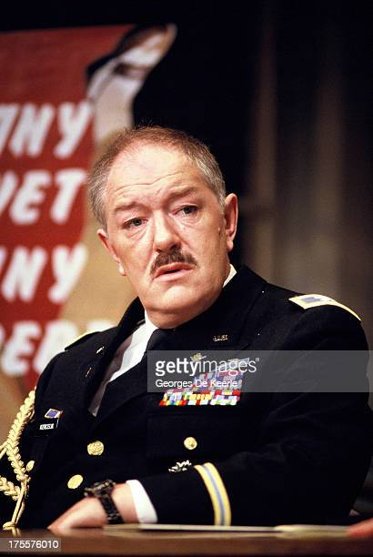 Actor Michael Gambon performs in Donald Freed's stage play 'Veterans Day' at Theatre Royal on August 17 1989 in London England