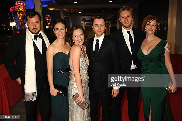 Actor Michael Gladis actress Maggie Siff actress Elisabeth Moss actor Vincent Kartheiser actor Aaron Staton and actress Christina Hendricks arrive at...