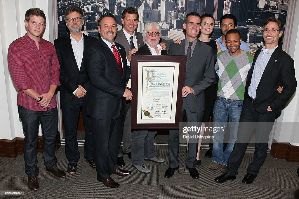 Actor Michael Grant Terry, executive producer Stephen Nathan, LA City Councilmember Joe Buscaino, actor David Boreanaz, executive producer Ian Toynton, LA City Councilmember Eric Garcetti, actors Emily Deschanel, Pej Vahdat and Eugene Byrd and executive producer Barry Josephson attend the LA City Council Chambers proclamation ceremony for Fox's 'Bones' at City Hall Council Chambers on November 9, 2012 in Los Angeles, California.