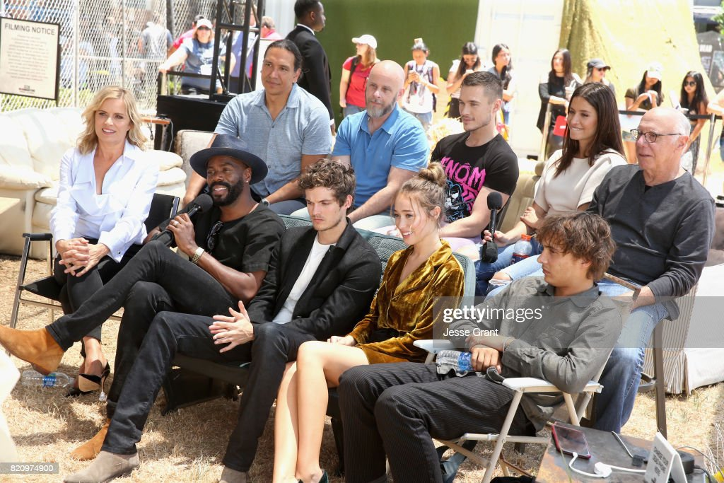 Actor Michael Greyeyes, executive producer Dave Erickson, actors Sam Underwood, Mercedes Mason, Dayton Callie, (Front row L-R) Kim Dickens, Colman Domingo, Daniel Sharman, Alycia Debnam-Carey and Frank Dillane at the 'Fear the Walking Dead' Autograph Signing for AMC At Comic Con 2017 - Day 3 on July 22, 2017 in San Diego, California.
