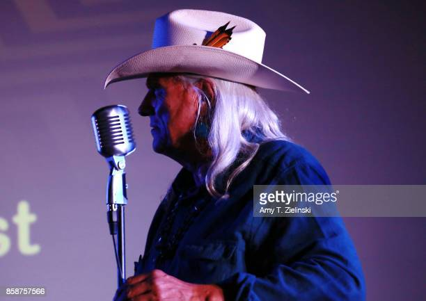 Actor Michael Horse who played the character of Deputy Chief Tommy 'Hawk' Hill on Twin Peaks sings during the Twin Peaks UK Festival 2017 at Hornsey...