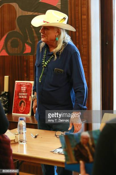 Actor Michael Horse who plays the character of deputy Hawk talks to fans during the Twin Peaks UK Festival 2017 at Hornsey Town Hall Arts Centre on...