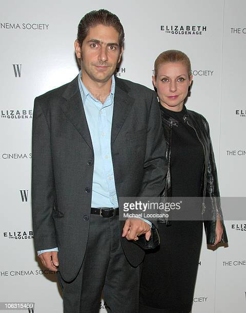 Actor Michael Imperioli and wife Victoria Imperioli arrive to The Cinema Society's Premiere of Elizabeth The Golden Age at the Tribeca Grand Hotel in...