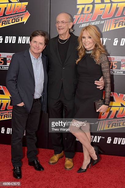 Actor Michael J Fox Actor Christopher Lloyd and Actress Lea Thompson attend the 'Back To The Future' New York special anniversary screening at AMC...