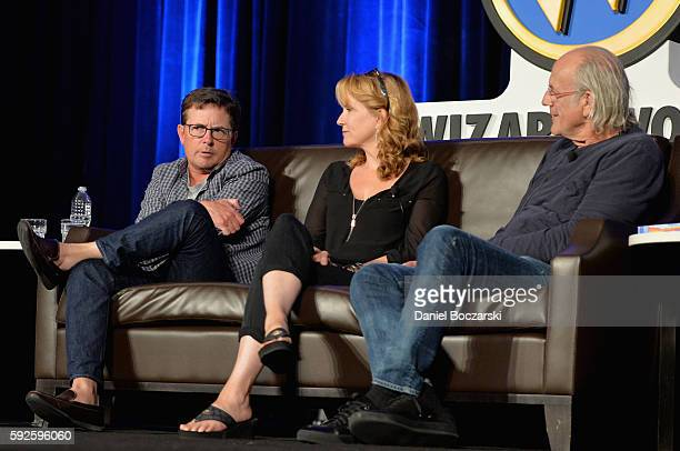 Actor Michael J Fox Actress Lea Thompson and Actor Christopher Lloyd onstage during Wizard World Comic Con Chicago 2016 Day 3 at Donald E Stephens...
