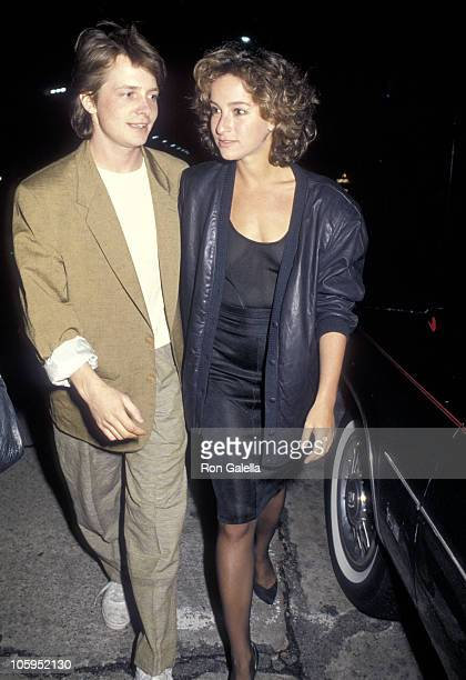 Actor Michael J Fox and actress Jennifer Grey attend the 'Pretty in Pink' Hollywood Premiere on January 29 1986 at Mann's Chinese Theatre in...