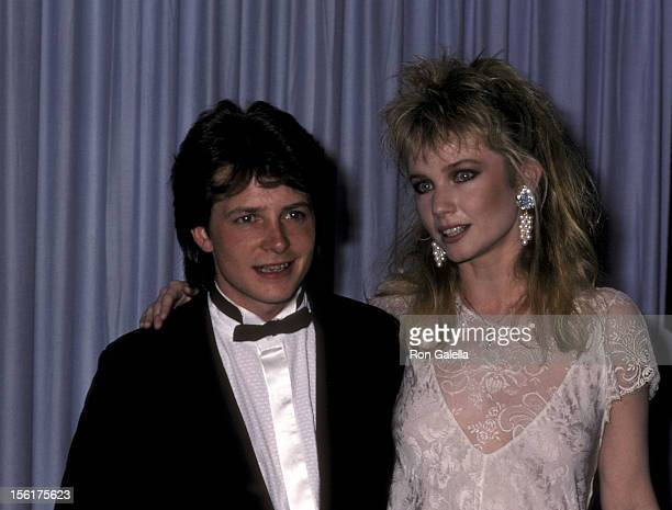 Actor Michael J Fox and actress Rebecca De Mornay attend the 58th Annual Academy Awards on March 24 1986 at Dorothy Chandler Pavilion Los Angeles...