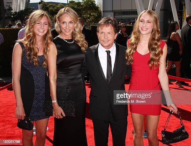 Actor Michael J Fox and his wife Tracy Pollan and family attend The Academy Of Television Arts Sciences 2012 Creative Arts Emmy Awards at the Nokia...