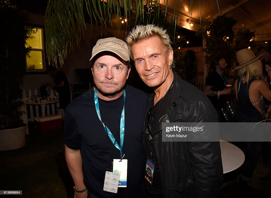 Actor Michael J. Fox (L) and musician Billy Idol attend Desert Trip at The Empire Polo Club on October 9, 2016 in Indio, California.