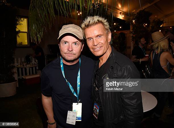 Actor Michael J Fox and musician Billy Idol attend Desert Trip at The Empire Polo Club on October 9 2016 in Indio California