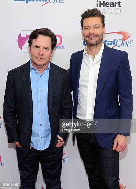 Actor Michael J Fox and radio personality Ryan Seacrest attend Z100's Jingle Ball 2015 at Madison Square Garden on December 11 2015 in New York City