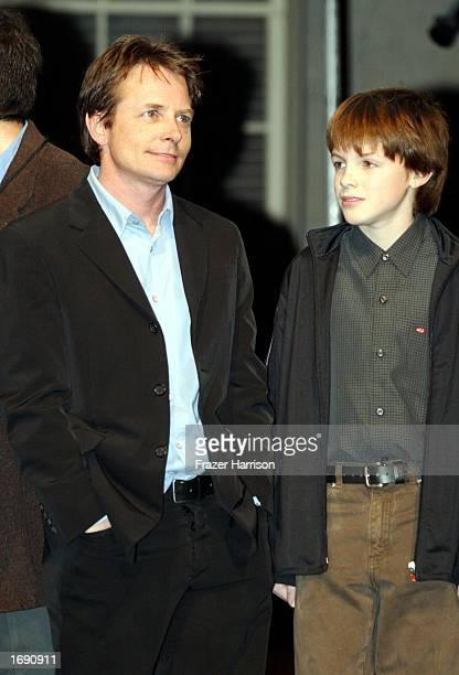 Actor Michael J Fox and son Sam on stage at the launch party of the 'Back to the Future' DVD release held at Universal Studios on December 16 2002 in...