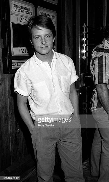 Actor Michael J Fox attends David HasselhoffCatherine Hickland Wedding Reception on May 6 1984 at Wompopper's Restaurant in Universal City California