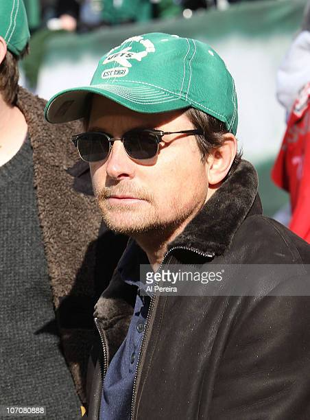 Actor Michael J Fox attends the Houston Texans vs New York Jets game at the New Meadowlands Stadium on November 21 2010 in East Rutherford New Jersey