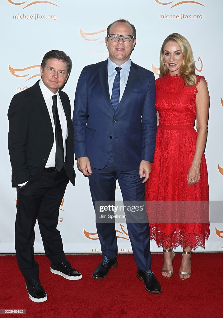 Actor Michael J. Fox, comedian Tom Papa and actress Tracy Pollan attend the 2016 A Funny Thing Happened On The Way To Cure Parkinson's at The Waldorf Astoria on November 12, 2016 in New York City.