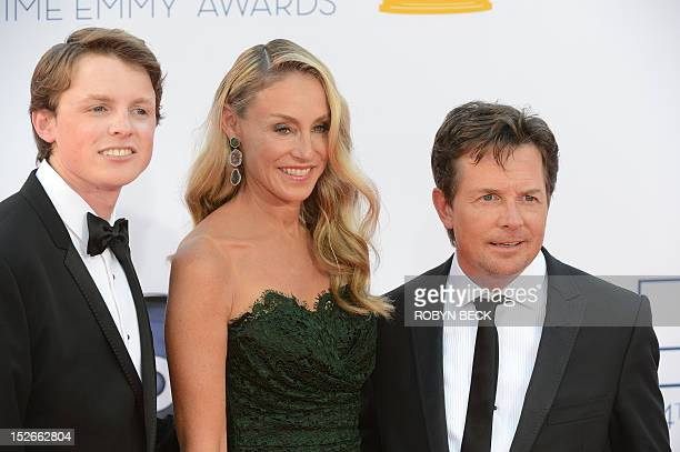 Actor Michael J Fox his wife actress Tracy Pollan and son Sam Fox arrive for the 64th annual Prime Time Emmy Awards at the Nokia Theatre at LA Live...