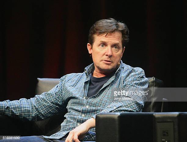 Actor Michael J. Fox participates in a Back To The Future Q&A discussion panel during the Silicon Valley Comic Con 2016 at San Jose Convention Center...