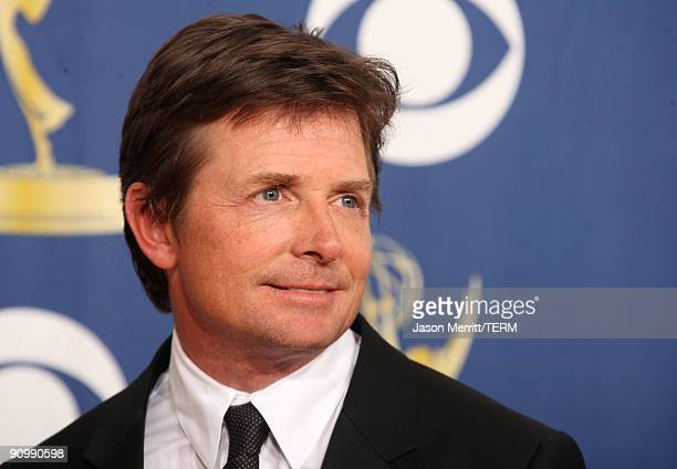 Actor Michael J Fox poses in the press room at the 61st Primetime Emmy Awards held at the Nokia Theatre on September 20 2009 in Los Angeles California