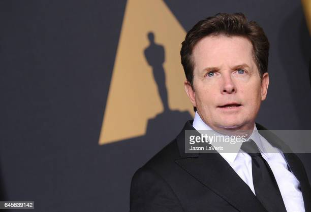 Actor Michael J. Fox poses in the press room at the 89th annual Academy Awards at Hollywood & Highland Center on February 26, 2017 in Hollywood,...