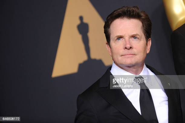 Actor Michael J Fox poses in the press room at the 89th annual Academy Awards at Hollywood Highland Center on February 26 2017 in Hollywood California