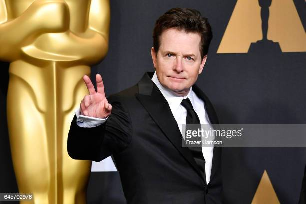 Actor Michael J Fox poses in the press room during the 89th Annual Academy Awards at Hollywood Highland Center on February 26 2017 in Hollywood...