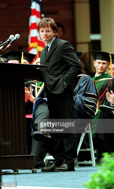 Actor Michael J Fox speaks at the UCLA School of Medicine Hippocratic Oath Ceremony June 1 2001 in Westwood CA