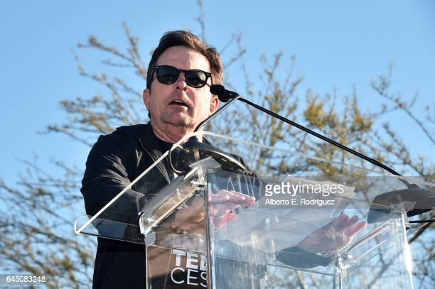 Actor Michael J Fox speaks during the United Voices Rally at UTA Plaza on February 24 2017 in Beverly Hills California