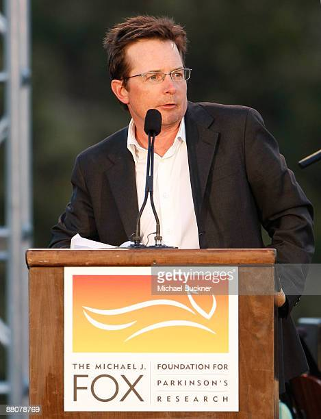 Actor Michael J Fox speaks Michael J Fox Foundation For Parkinson's Research Summer Lawn Party held at a Private Residence on May 30 2009 in Topanga...
