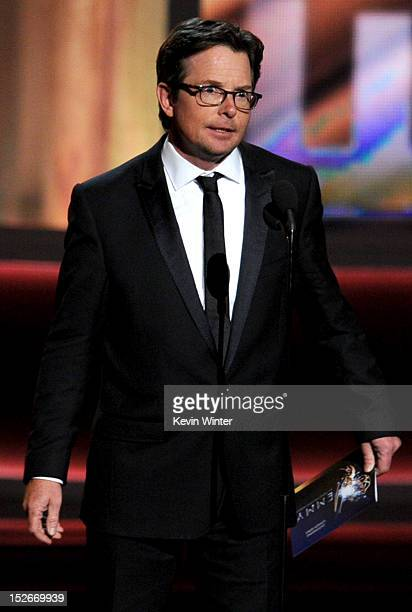 Actor Michael J Fox speaks onstage during the 64th Annual Primetime Emmy Awards at Nokia Theatre LA Live on September 23 2012 in Los Angeles...
