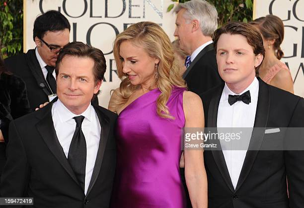Actor Michael J Fox wife Tracy Pollan and son Mr Golden Globe Sam Fox arrive at the 70th Annual Golden Globe Awards held at The Beverly Hilton Hotel...