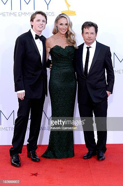 Actor Michael J Fox wife Tracy Pollan and son Sam Fox arrive at the 64th Annual Primetime Emmy Awards at Nokia Theatre LA Live on September 23 2012...