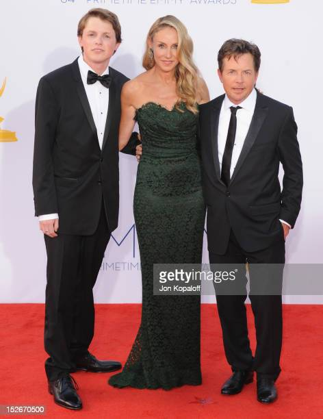 Actor Michael J Fox wife Tracy Pollan and son Sam Michael Fox arrive at the 64th Primetime Emmy Awards at Nokia Theatre LA Live on September 23 2012...