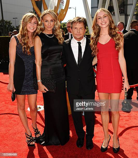 Actor Michael J Fox wife Tracy Pollan and their children attend the 2012 Primetime Creative Arts Emmy Awards at Nokia Theatre LA Live on September 15...
