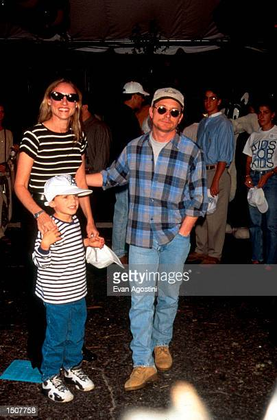 Actor Michael J Fox with actress wife Tracy Pollan and son Sam attend the 3rd Annual Pediatric Aids Foundation Kids For Kids benefit October 1 1995...