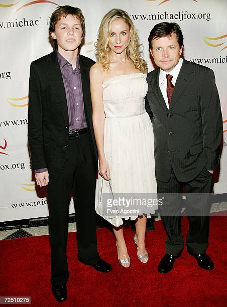 Actor Michael J Fox with his wife actress Tracy Pollan and son Sam arrive for A Funny Thing Happened On The Way To Cure Parkinson's benefit gala at...