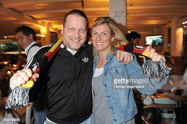 Actor Michael Jaeger and Kristiane Zickenheiner attend the public viewing party for the first match of the German team during the world cup 2010 at...