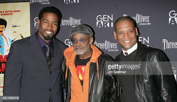 Actor Michael Jai White, Melvin Van Peebles and Director Scott Sanders attend the Gen Art New York premiere of Black Dynamite at the AMC Loews 19th...