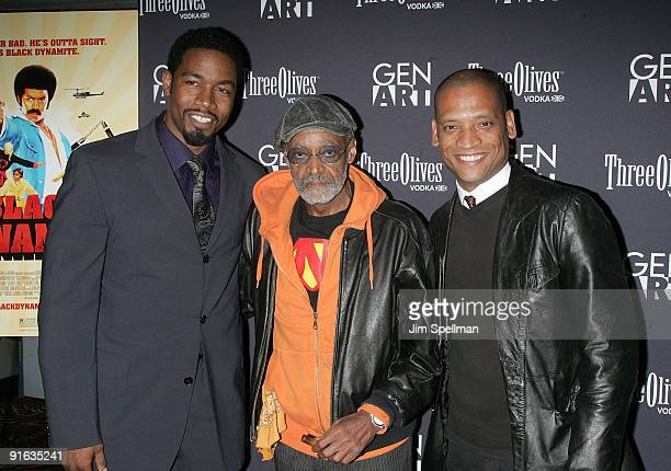 "Actor Michael Jai White, Melvin Van Peebles and Director Scott Sanders attend the Gen Art New York premiere of ""Black Dynamite"" at the AMC Loews 19th..."