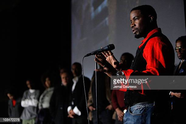Actor Michael Jai White speaks on stage at the premiere of Black Dynamite during the 2009 Sundance Film Festival at Library Center Theatre on January...